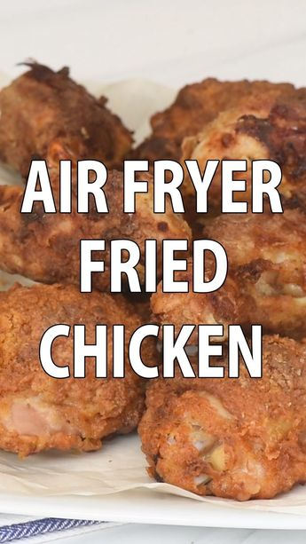 Perfectly seasoned, incredibly tender fried chicken. You'd never guess this crispy Air Fryer Fried Chicken was made using a tiny fraction of the oil called for in traditional methods! #airfryerrecipes #airfryer #friedchicken #chickenrecipes #healthyrecipes