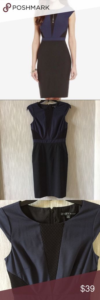 4137d06159d Antonio Melani Sheath Dress Navy blue and black sheath dress. Textured  honeycomb design accents.
