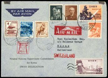 Korea Form letter disinterested Nations Supervisory commission for Chosun Swiss delegation, coloured with Japan stamps franked, postmark Tokyo 4. ...