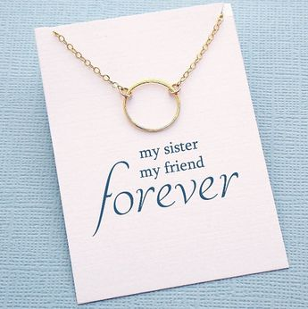 Sister Gift, Dainty, Minimalist, Gold Circle Necklace, Gift for Sister, Sisterhood, Soul Sisters, Big Sister Gift, Big Little Gift, X05