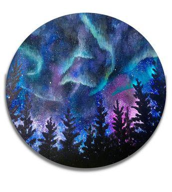 Northern Lights, Northern lights art, Galaxy painting, Northern lights painting, Aurora Borealis, Night Sky art, Nebula painting, Nebula