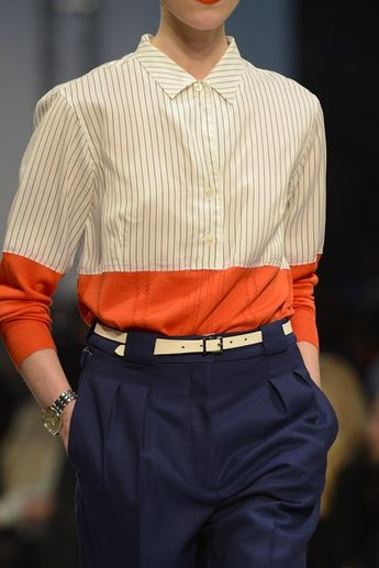 mode UK : Paul Smith, 2013, chemise/pull, orange, rayures, 2010s