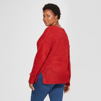 607f0d75b1906 Women s Plus Size Long Sleeve Chunky Knit Sweater - Universal Thread Red 4X