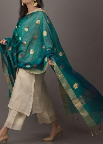 Panna Silk Chanderi Dupatta with Zari Handwork