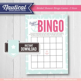 bridal shower bingo nautical bridal shower theme bridal shower game ideas