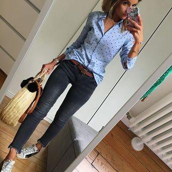 Du bleu du gris et de la pluie, encore et toujours de la pluie 😒... #unegrosseblagueceprintemps#outfit#ootd#dailypost#dailylook#dailyoutfit#instalook#instafashion#fashionpost#fashiondiaries#fashionblogger#wiwt#picoftheday chemise#stradivarius jean#mango panier#lafilledemargaret ceinture#sessun collier#alexianebijoux (code promo LESFUTILES15) baskets#goldengoose
