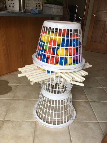 "Giant Kerplunk game made from dollar store laundry baskets 1/2"" pvc and ball pit balls #BoyFashionGames"