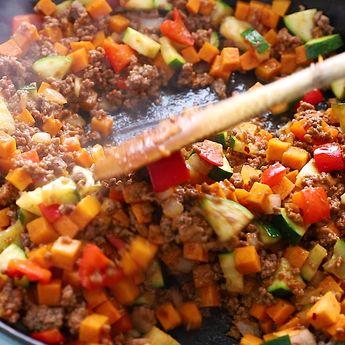 Ground Beef Zucchini Sweet Potato Skillet (Meal Prep)