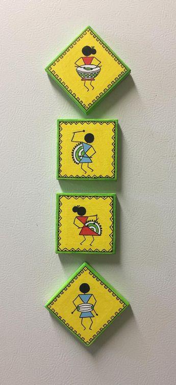 hand painted magnets/ warli magnets/ warli designs/ canvas magnets/ magnet set/ favor/ return gift