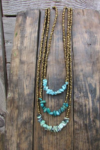 Boho long necklace, turquoise chips and golden bronze beads, gypsy bohemian beach jewelry, tribal goddess gemstone necklace, goa ibiza beach