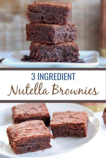 These 3 ingredient nutella brownies come together fast without the need for butter, cocoa powder or baking powder. Makes a quick and easy fudgy brownie dessert with a great hazelnut chocolate taste. Can be made gluten free easily! #chocolate #dessert #brownies #nutella  via @thymeandjoy