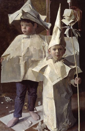 The Newspaper Boys by John Ward - 1960   This reminds me of paper hats I've made for Thomas, Copper and Carson.