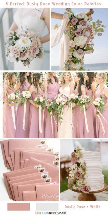 8 Perfect Dusty Rose Wedding Color Palettes for 2019 -No.8 Dusty Rose and White #colsbm #bridesmaids #weddings #weddingideas #fallwedding b541