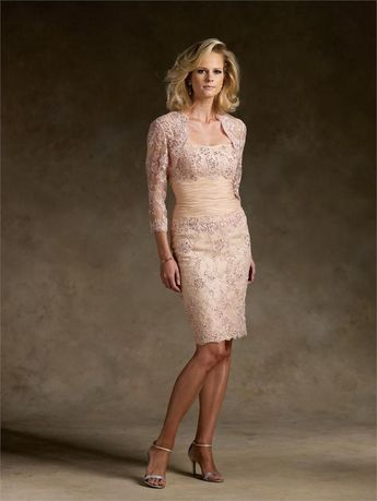 2ee2dd3c35ab Champagne tea length mother of the bride dress beaded   3 4 sleeve lace  jacket