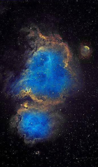 """The Soul Nebula (IC 1848) IC 1848 is rather a large emission nebula in the constellation Cassiopeia.  It is often referred to as the """"Embryo Nebula"""" because of its characteristic shape.  Because of its neighbor to the SE, IC 1805(Heart Nebula), reference to them both is The Heart & Soul.  Credit: Azin Dark Skies"""
