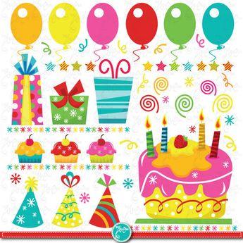 Buy 2 Get 1 Free Birthday Doodles Clipart Digital Bir