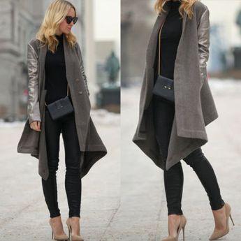 Autumn Women WOOL Synthetic Leather Sleeve Long Coat Jacket Trench Parka Outwear    eBay