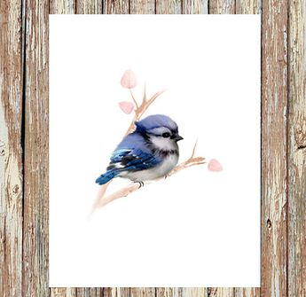 Blue jay painting, baby bird print, baby blue jay, baby animal prints, wildlife painting, home decor, nursery decor