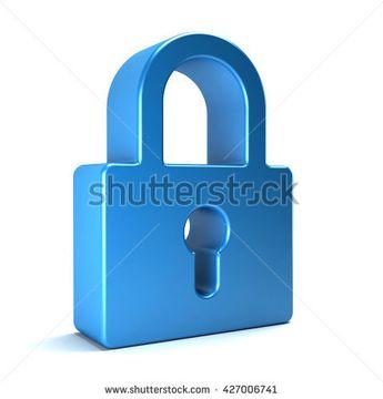 """Padlock security device. 3D rendering illustration"""