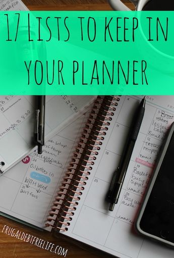17 lists you can keep in your planner