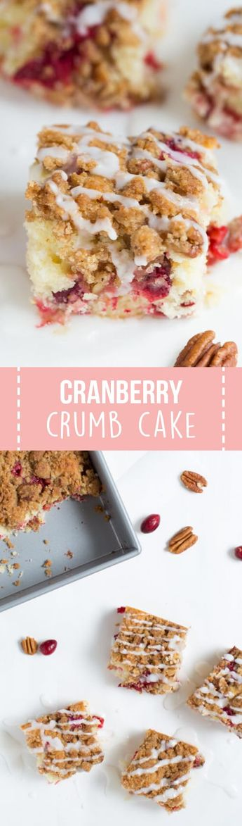 Cranberry Crumb Cake is made with fresh cranberries and crumb topping! The cake is perfect for breakfast or snack and is a great addition to your holiday gathering.