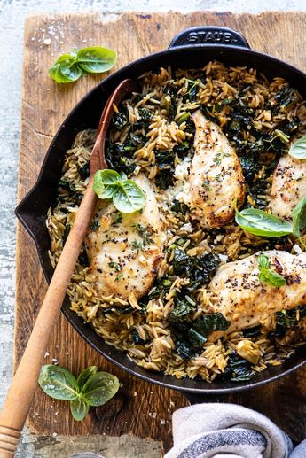 One Skillet Goat Cheese Stuffed Chicken and Orzo