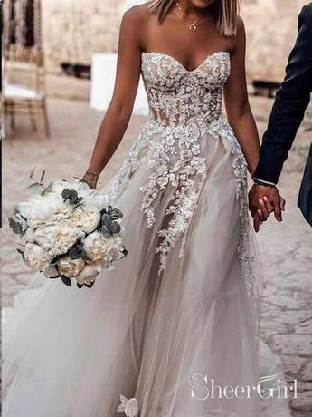 Sweetheart Neck Lace Rustic Wedding Dresses Long Tulle Beach Wedding Dress AWD1473