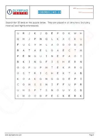 Download this printable Grade 4 Science worksheet (Crosswor