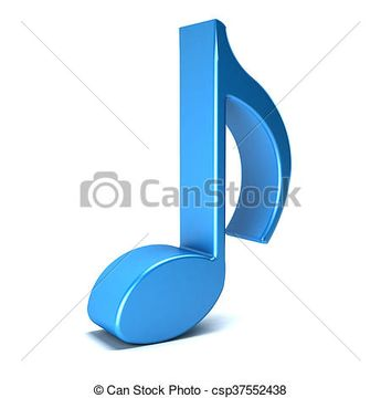 Musical Note isolated in white background. 3D rendering illustration - csp37552438