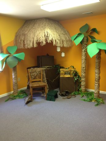 Props for jungle theme shower or party.... story telling spot for Ozzy's Preschool Park Bible Adventures & Missions!?