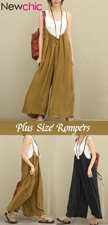 Up To 70% Off Vintage Strap Pure Color Plus Size Rompers Hot Sale