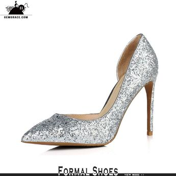 b1758f426e29 Glittering Gold High Heeled Wedding Shoes For Brides 2018  MSL-7806 -  GemGrace.