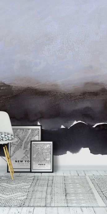 Abstract ethereal landscape lilac and dark paynes grey Wall Mural / Wallpaper Art