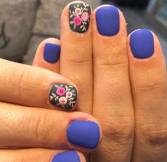 Blue color is awesome, I would change the decorated nail with a white base color.