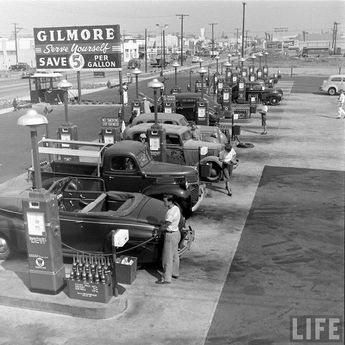 Gilmore Oil's Gas-A-Teria One of the First Self Serve Gas Stations in Los Angeles 1948