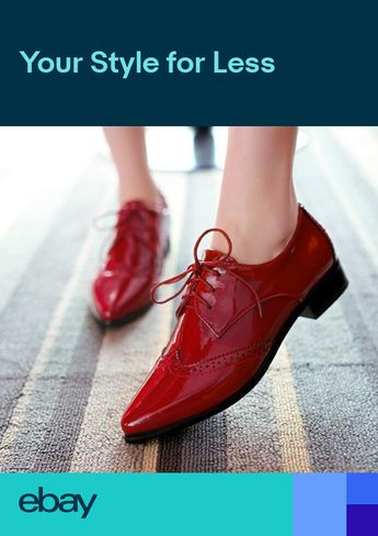 Womens Flat Heel Pointy Toe Patent Leather Lace Up Oxford Shoes @