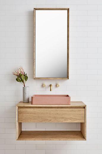 The Baxter Single basin vanity (Loughlin Furniture). Pink concrete basin.
