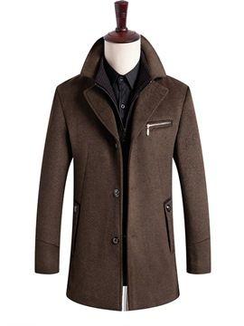 7b200dfa46 Ericdress Plain Stand Collar Patchwork Thick Mens Winter Wool Coat 13432022  - Ericdress.com