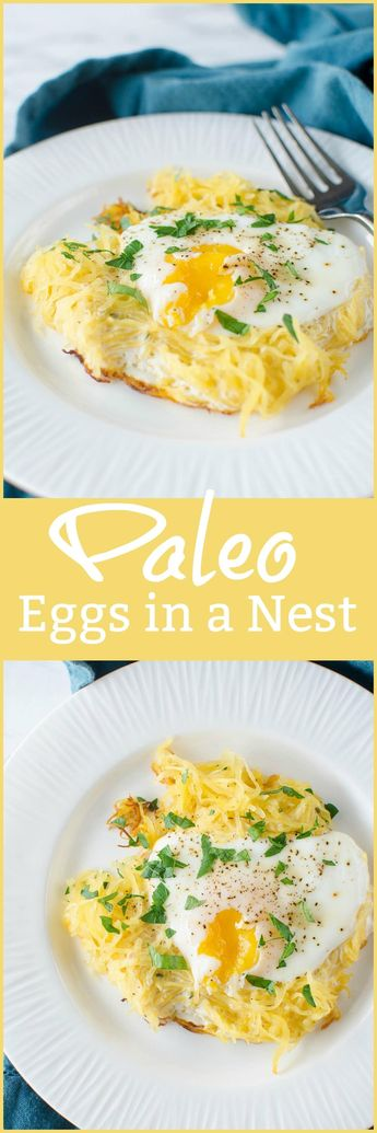 Paleo Eggs in a Nest - your favorite childhood breakfast made healthier! Spaghetti squash gets crispy and becomes the perfect nest for an egg! Low carb and paleo!