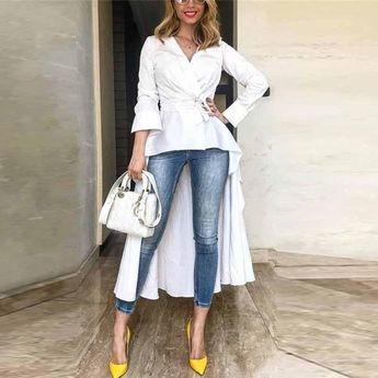 Autumn And Winter Fashion Pure Color Irregular Long-Sleeved Shirt