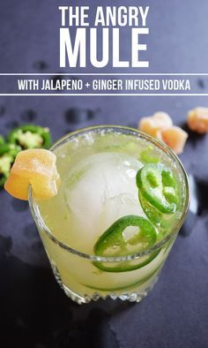 The Angry Mule: a twist on the classic cocktail. Made with a Jalapeno + Ginger infused Vodka to give it a bit of a *kick*.