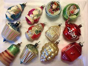 Rare vintage antique blown glass figural christmas ornaments santas diorama