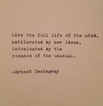 Hemingway Quote Typed on Typewriter