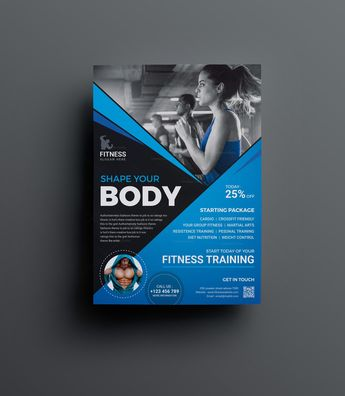 Top Rated Fitness Center Flyer Design Template - Graphic Templates
