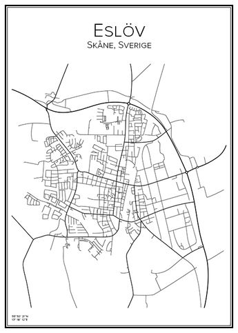 Karta Skane Tavla.Lomma Skane Sverige Karta City Print Print Affisch T