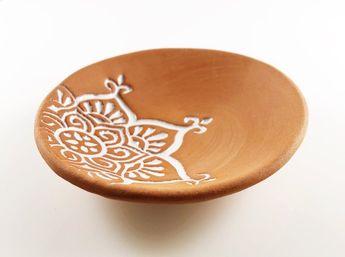 Terra Cotta Dish - Boho Star Ring Holder - Jewelry Bowl
