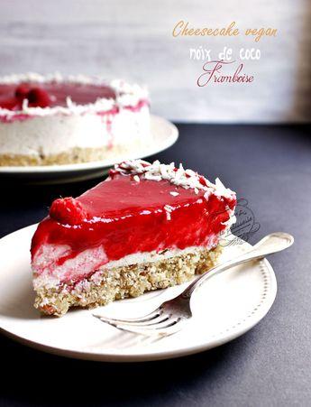 Cheesecake noix de coco et framboise vegan {cru, sans gluten, sans lactose}