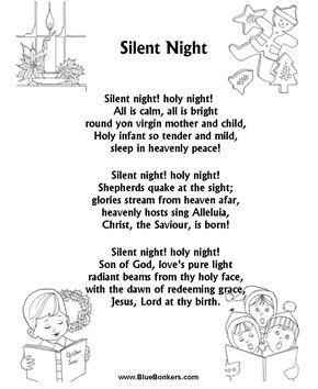 """Silent Night"" music lyrics free printable   ... Free Printable Christmas Carol Lyrics Sheets : Favorite Christmas Song"