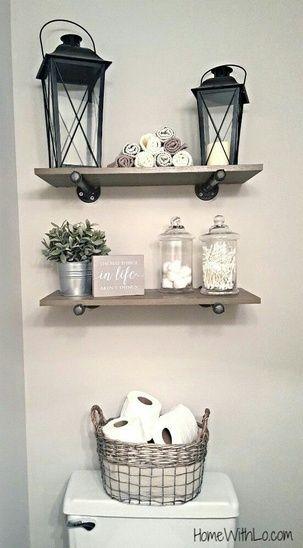 Rustic bathroom decor #bathroom #rustic #shelves #homedecor #storage #ShopStyle