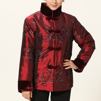 a341b02c2 Fur Collar & Cuff Floral Embroidery Taffeta Chinese Wadded Coat
